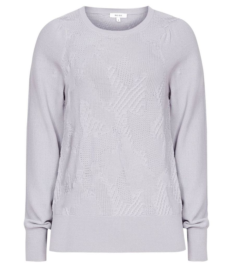 Reiss Bonita - Textured Flute Sleeve Jumper in Soft Grey, Womens, Size XXL