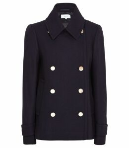 Reiss Becall - Button Detail Pea Coat in Navy, Womens, Size 14