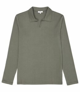 Reiss Freckleton - Open Neck Shirt in Green, Mens, Size XXL