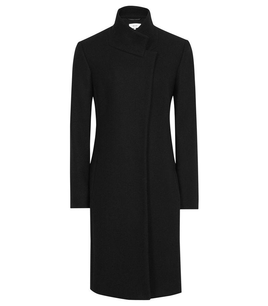 Reiss Mabel - Single Breasted Longline Coat in Black, Womens, Size 14
