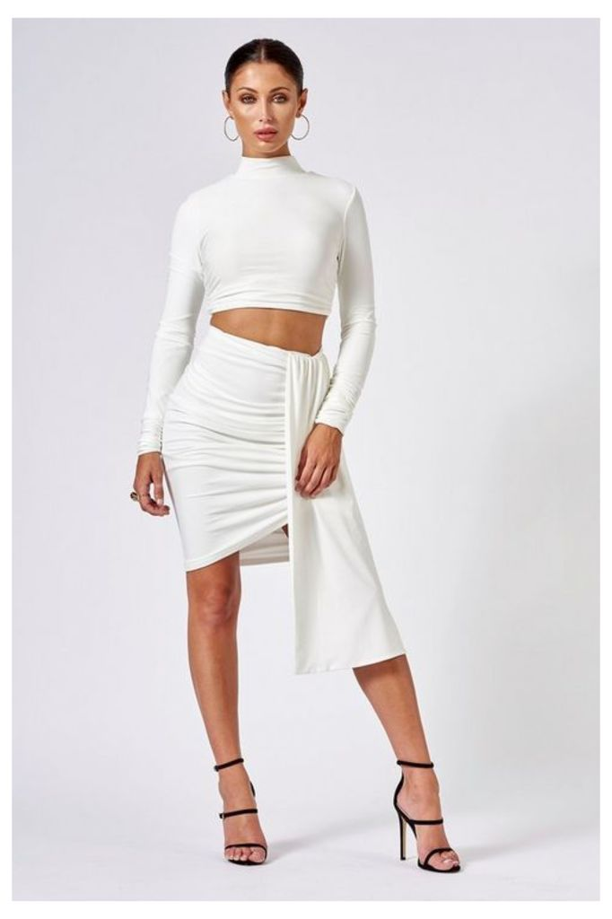 Womens **White Ruched Layered Mini Skirt By Club L - White, White