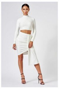 Womens **White Ruched Layered Mini Skirt By Club L - White, White