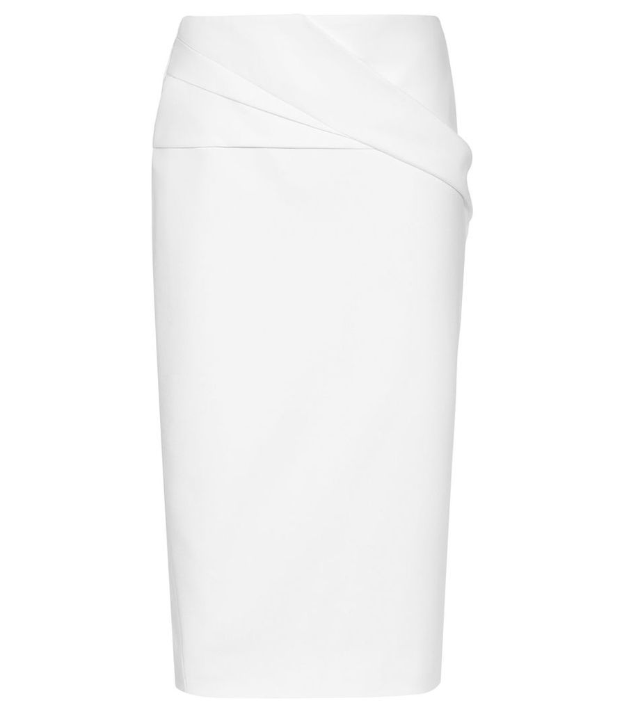 Reiss Icia - Pleat Front Jersey Pencil Skirt in Off White, Womens, Size 14