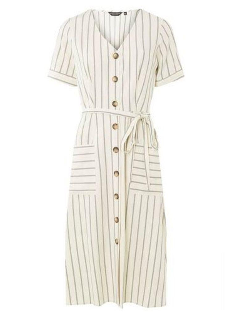 Womens Cream Striped Button Detail Shirt Dress- Cream, Cream