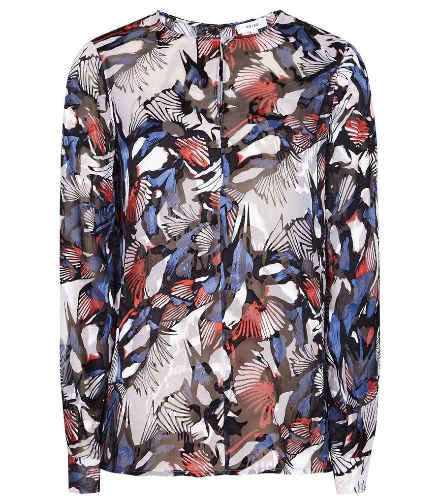 Reiss Ameris - Butterfly Burnout Print Blouse in Multi, Womens, Size 14