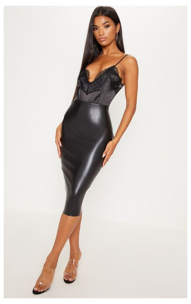 Basic Black Faux Leather Midi Skirt, Black