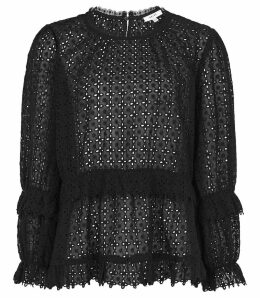Reiss Madie - Broderie Anglaise Top in Black, Womens, Size 14