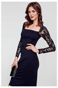 Womens HotSquash Black Lace Sleeve Hostess Dress -  Black