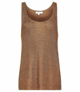 Reiss Lilian - Metallic Knitted Top in Rose Gold, Womens, Size XXL