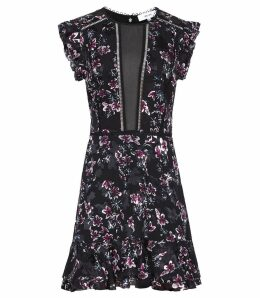 Reiss Alexandra - Floral Printed Dress in Black Floral, Womens, Size 16