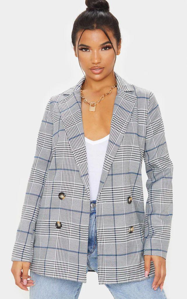 Grey Checked Button Blazer, Grey