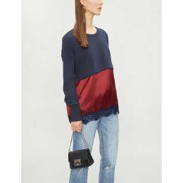 Contrast-panel cotton-blend and silk-satin sweatshirt