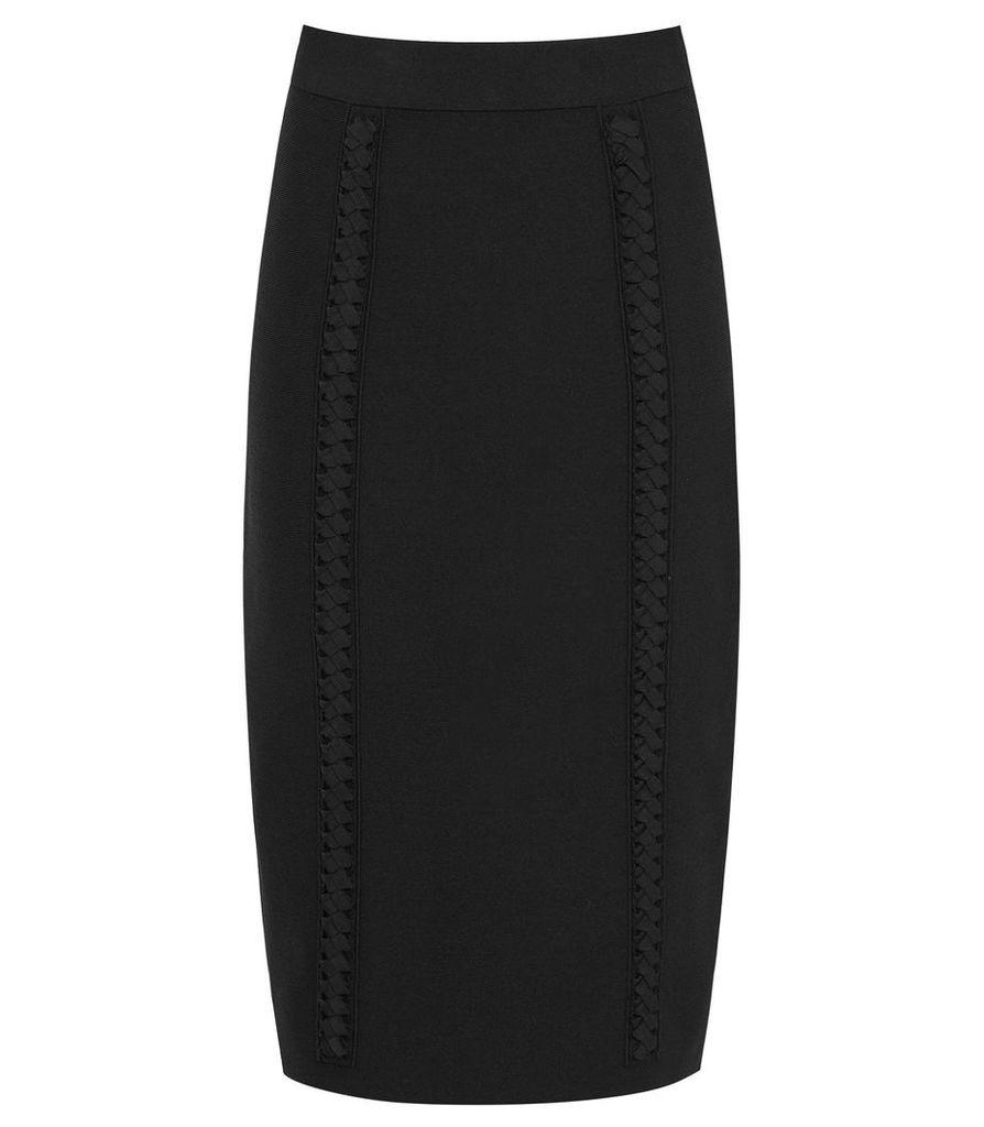 Reiss Ann - Braid Detail Knitted Pencil Skirt in Black, Womens, Size XXL