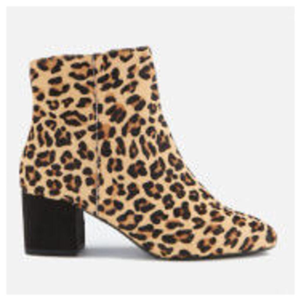Dune Women's Olyvea Suede Heeled Ankle Boots - Leopard