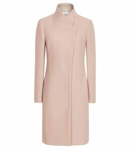 Reiss Mabel - Longline Coat in Soft Pink, Womens, Size 14