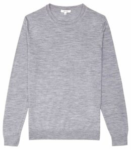 Reiss Wessex - Merino Wool Jumper in Soft Grey, Mens, Size XXL