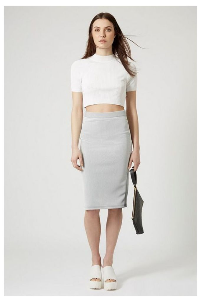Womens Pinstripe Midi Skirt - White, White