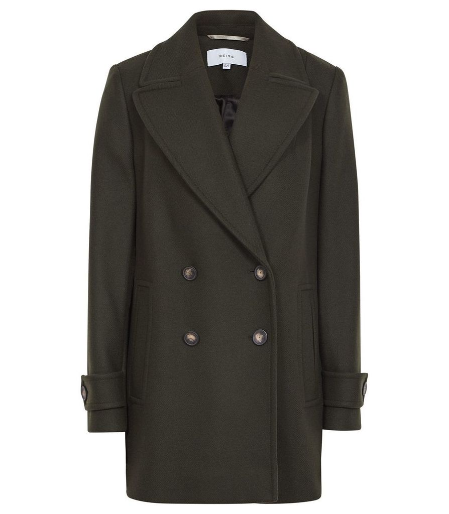 Reiss Felix - Double Breasted Peacoat in Khaki, Womens, Size 14