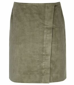Reiss Francis - Corduroy Warp Front Mini Skirt in Green, Womens, Size 14