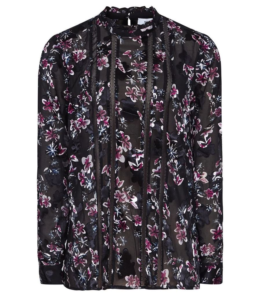 Reiss Luce - Floral Burnout Printed Blouse in Black Floral, Womens, Size 14