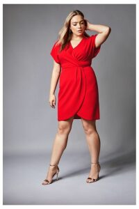 Womens Mela London Curve Wrap Front Midi Dress -  Red
