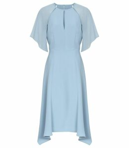 Reiss Tavia - Asymmetric Midi Dress in Blue, Womens, Size 16