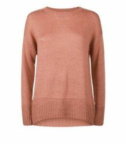 Petite Mid Pink Longline Knit Jumper New Look