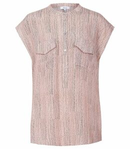 Reiss Arabella - Printed Twin Pocket Cap Sleeved Blouse in Pink, Womens, Size 14