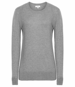 Reiss Maya - Crew Neck Jumper in Grey Marl, Womens, Size XXL