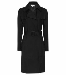 Reiss Hurley - Belted Mac in Black, Womens, Size 14
