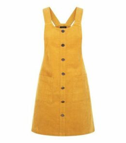 Mustard Button Front Corduroy Pinafore Dress New Look