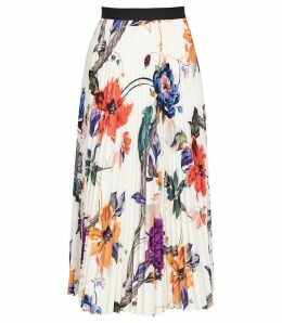 Reiss Mya - Bold Floral Knife Pleated Midi Skirt in Multi, Womens, Size 14