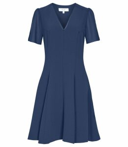 Reiss Natalia - V-neck Fit And Flare Dress in Teal, Womens, Size 16
