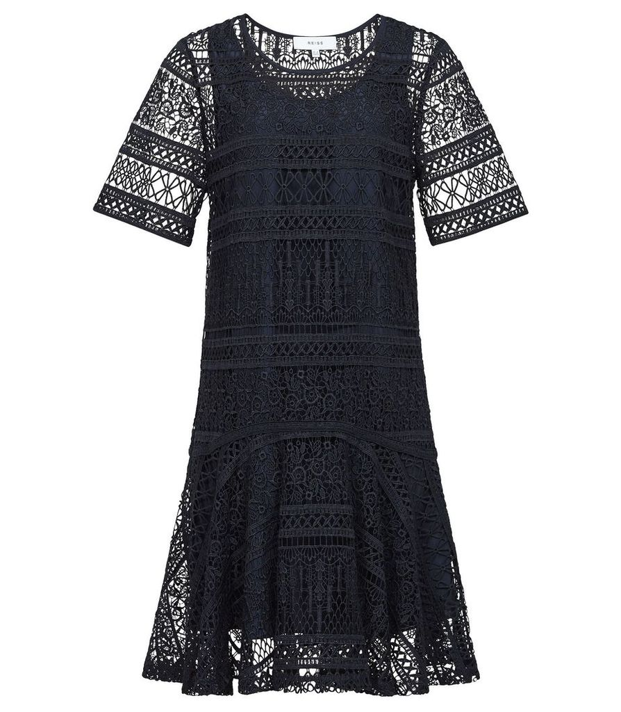 Reiss Linda - Lace Shift Dress in Navy, Womens, Size 12