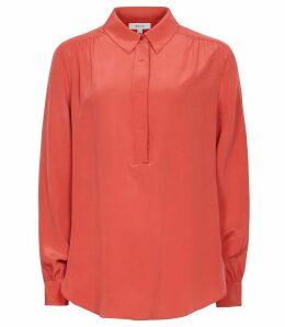 Reiss Nadina - Silk Shirt in Red, Womens, Size 14