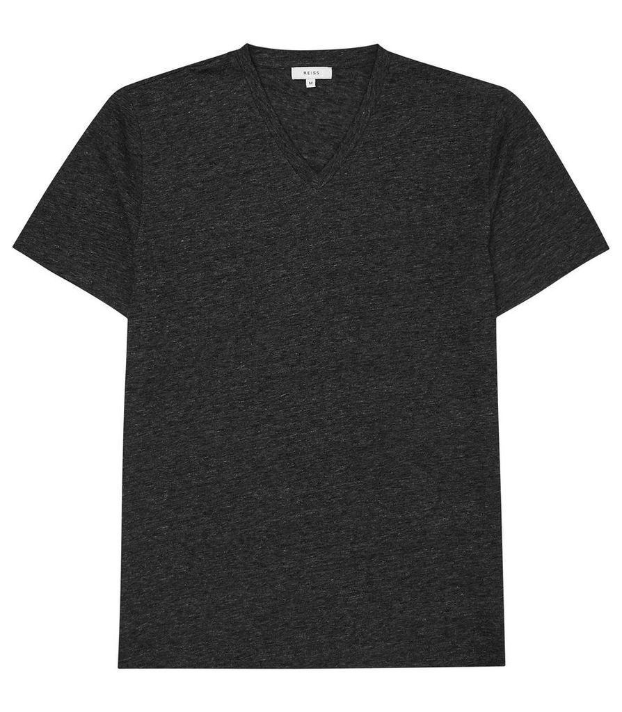 Reiss Gondola - V-neck Melange T-shirt in Charcoal, Mens, Size XL