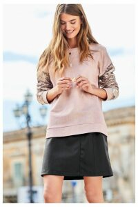 Womens Next Black Faux Leather Skirt -  Black
