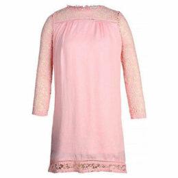 London Rag  Womens Pink Full Sleeve Casual Loose Lace Midi Dress  women's Dress in Pink