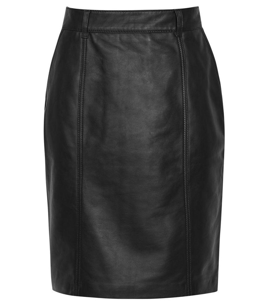 Reiss Kara - Leather Pencil Skirt in Black, Womens, Size 14