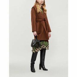 Max Mara Womens Brown Rialto Wrap-Over Camel Hair Coat