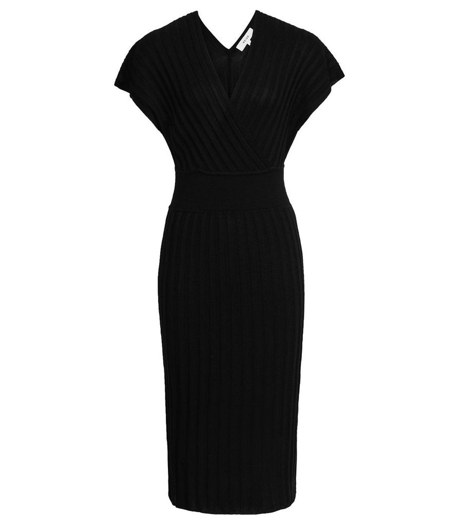 Reiss Talitha - Ribbed Knitted Dress in Black, Womens, Size S