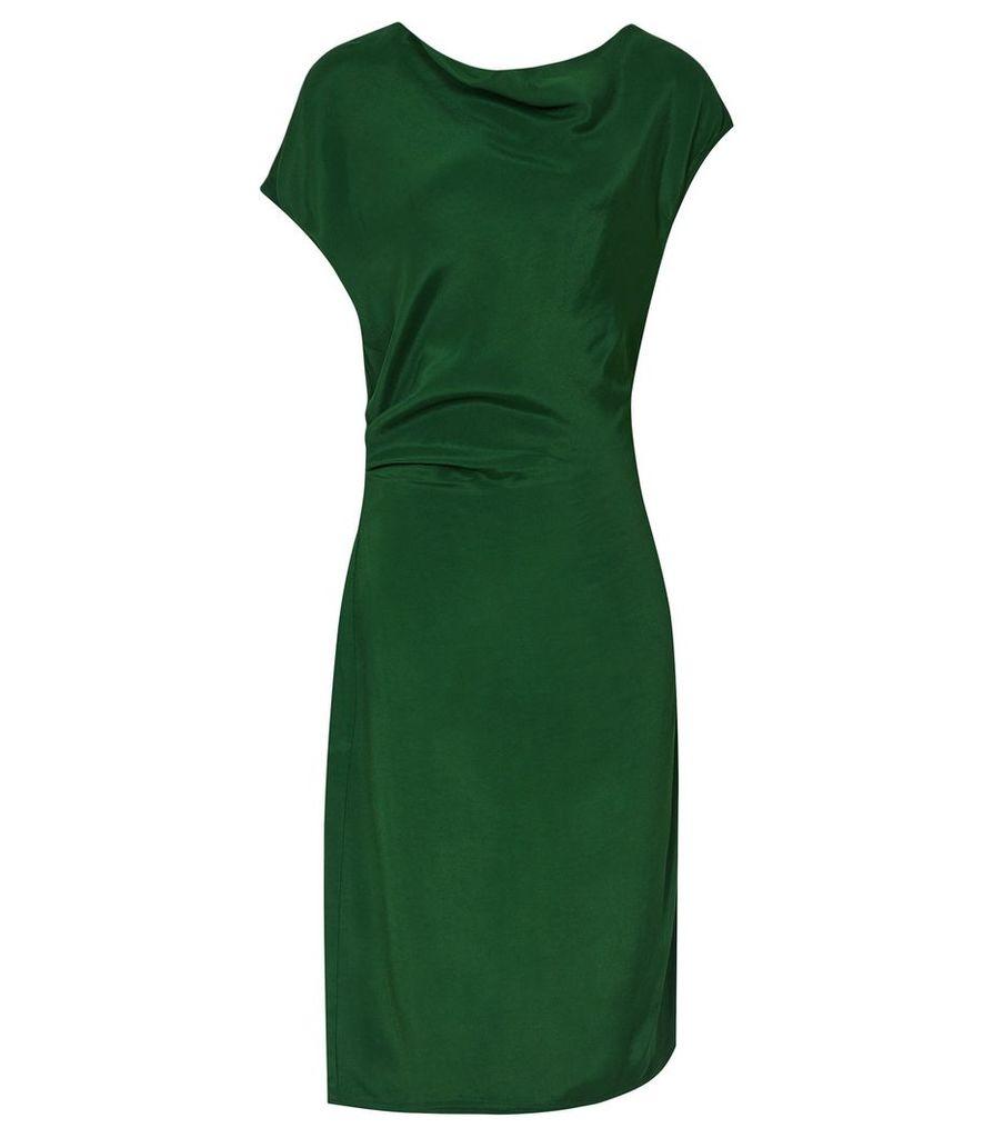 Reiss Lore - Capped Sleeve Dress in Dark Green, Womens, Size 16