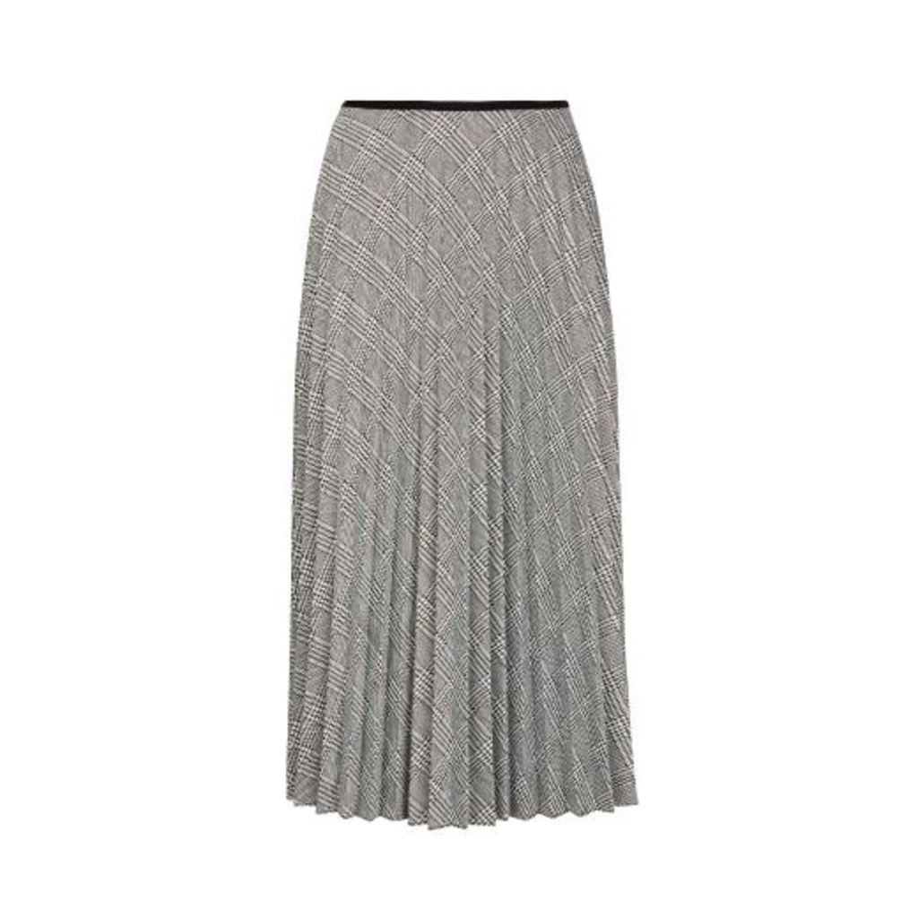 Long Pleated Dogtooth Check Skirt