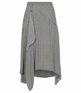 Reiss Ayodele - Houndstooth Midi Skirt in Monochrome, Womens, Size 14