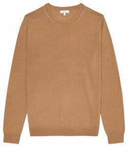 Reiss Wessex - Merino Wool Jumper in Camel, Mens, Size XXL