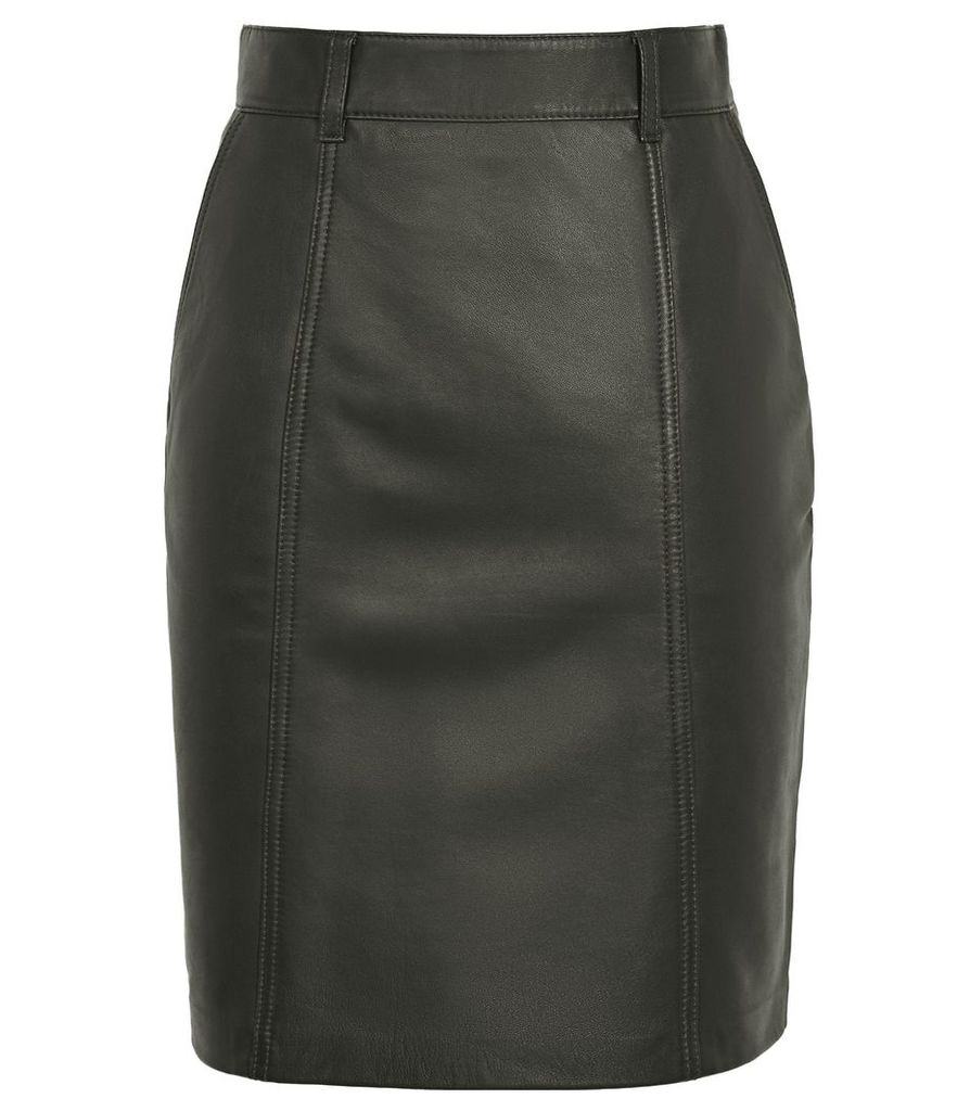 Reiss Kara - Leather Pencil Skirt in Green, Womens, Size 14