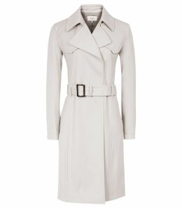 Reiss Hurley - Belted Mac in Neutral, Womens, Size 14