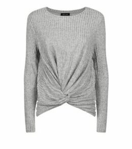 Grey Brushed Rib Twist Front Top New Look