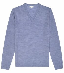 Reiss Earl - Merino Wool Jumper in Mid Blue Melange, Mens, Size XXL