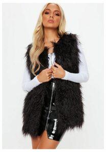 Black Shaggy Faux Mongolian Fur Gilet, Black
